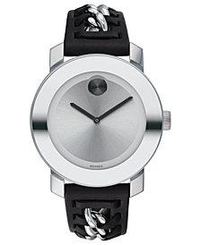 Movado Women's Swiss BOLD Black Leather Strap Watch 36mm