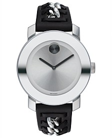 Movado Women's Swiss BOLD Black Leather Strap Watch 36mm