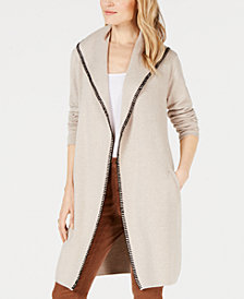 Style & Co Petite Blanket-Stitch Trim Sweater Jacket, Created for Macy's