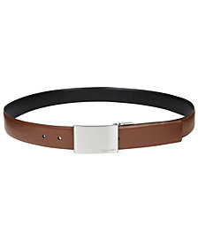 Calvin Klein Men's Reversible Leather Plaque Belt