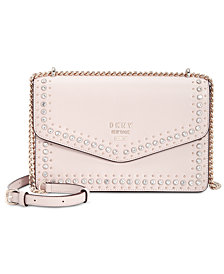 DKNY Whitney Leather Studded Flap Shoulder Bag, Created for Macy's