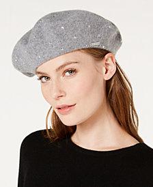 Calvin Klein Rhinestone Wool Beret