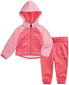 Nike Baby Girls 2-Pc. Colorblocked Therma Hoodie & Jogger Pants Set