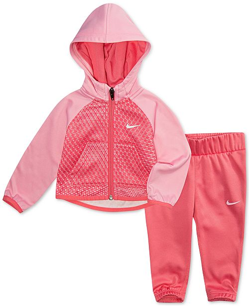 7f4d599c4 Nike Baby Girls 2-Pc. Colorblocked Therma Hoodie   Jogger Pants Set ...