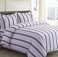 Stripe Cotton Flannel Printed Oversized King Duvet Set