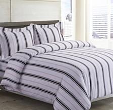Stripe Cotton Flannel Printed Oversized King Duvet Set