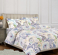 Paisley Garden Cotton Flannel Printed Oversized Queen Duvet Set