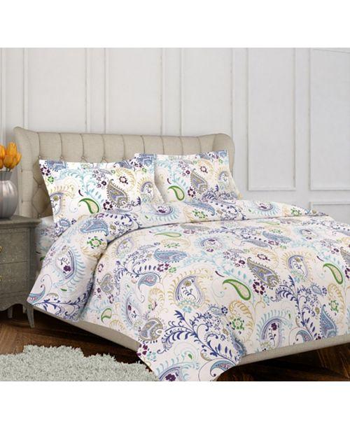 Tribeca Living Paisley Garden Cotton Flannel Printed Oversized Queen Duvet Set