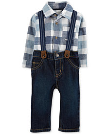 Carter's Baby Boys 3-Pc. Plaid Bodysuit, Suspenders & Jeans Set