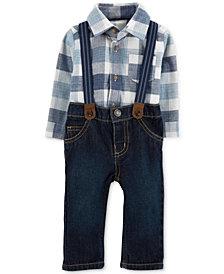 Carter's Baby Boys 3-Pc. Plaid Bodysuit, Suspenders & Jeans Set