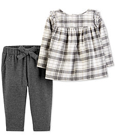 Carter's Baby Girls 2-Pc. Flannel Plaid Top & Pants Set