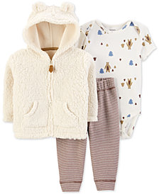 Carter's Baby Boys 3-Pc. Faux-Fur Hoodie, Printed Bodysuit & Striped Pants Set