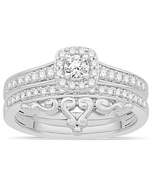 Diamond Halo Bridal Set (1/2 ct. t.w.) in 14k White Gold