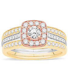 Diamond 3-Pc. Bridal Set (7/8 ct. t.w.) in 14k White, Rose and Yellow Gold