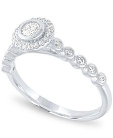 Diamond Halo Ring (1/3 ct. t.w.) in 14k White Gold