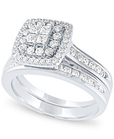 Diamond Halo Cluster Bridal Set (1 ct. t.w.) in 14k White Gold