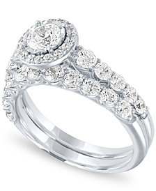 Diamond Halo Bridal Set (1 1/3 ct. t.w.) in 14k White Gold