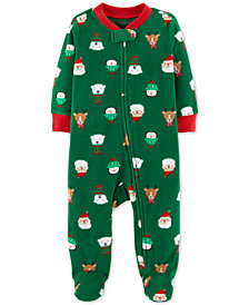 Carter's Baby Boys Christmas-Print Fleece Footed Coverall