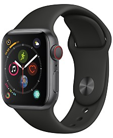 Apple Watch Series 4 GPS + Cellular, 40mm Space Gray Aluminum Case with Black Sport Band