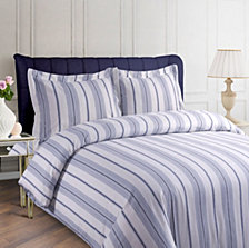 Stripe Cotton Flannel Printed Oversized Queen Duvet Set