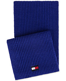 Tommy Hilfiger Men's Ribbed-Knit Logo Scarf, Created for Macy's