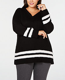 Calvin Klein Plus Size Eyelash-Trim Striped Sweater