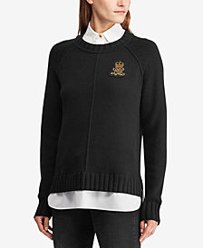 Lauren Ralph Lauren Petite Bullion-Patch Layered-Look Shirt