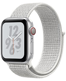 Apple Watch Nike+ Series 4 GPS + Cellular, 40mm Silver Aluminum Case with Summit White Nike Sport Loop