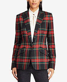 Lauren Ralph Lauren  Petite Bullion Crest Patch Plaid Blazer