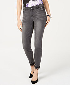 I.N.C. Petite Lace-Trim Skinny Jeans, Created for Macy's