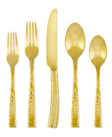 Argent Orfèvres Hampton Forge Paris Hammered Gold 20-Pc. Flatware Set, Service for 4