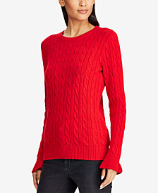 Ralph Lauren Petite Cable-Knit Cotton Sweater