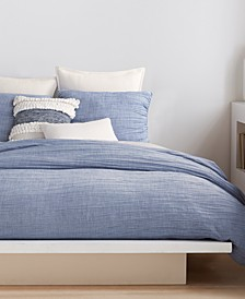 City Pleat Blue Queen Duvet