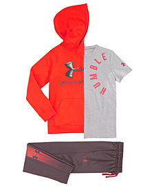 Under Armour Big Boys Logo-Print Hoodie, Humble-Print T-Shirt & Brawler Athletic Pants