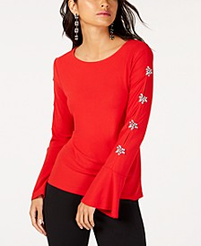 INC Embellished-Sleeve Top, Created for Macy's