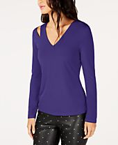 I.N.C. Cutout V-Neck Top, Created for Macy's