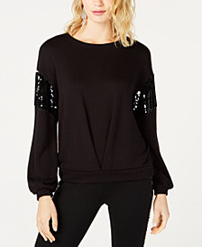 I.N.C. Sequin-Trim Balloon-Sleeve Sweatshirt, Created for Macy's