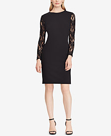 Lauren Ralph Lauren Lace-Sleeve Jersey Dress