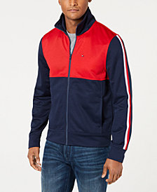 Tommy Hilfiger Men's Racer Colorblocked Full-Zip Mock-Collar Sweatshirt