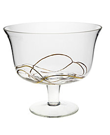 Classic Touch Footed Salad Bowl With 14K Gold Swirl Design