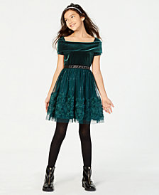 Beautees Big Girls Velvet Sequin Soutache Dress