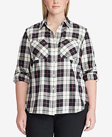 Lauren Ralph Lauren Plus Size Twill Plaid Cotton Shirt