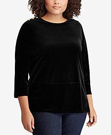 Lauren Ralph Lauren Plus Size Velvet Georgette Top