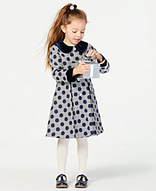 Blueberi Boulevard Little Girls 2-Pc. Striped Dot-Print Coat & Dress Set