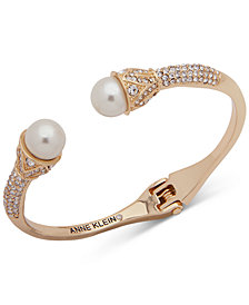Anne Klein Gold-Tone Crystal & Imitation Pearl Cuff Bracelet, Created for Macy's