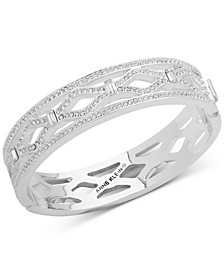 Silver-Tone Pavé Openwork Bangle Bracelet, Created for Macy's