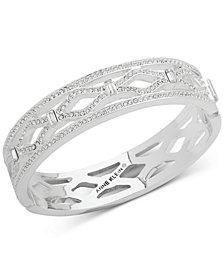 Anne Klein Silver-Tone Pavé Openwork Bangle Bracelet, Created for Macy's