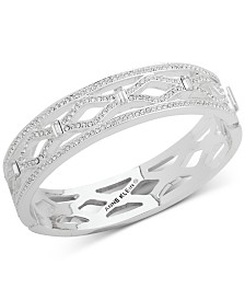 Anne Klein Silver-Tone Pavé Openwork Bangle Bracelet, Created for Macy's