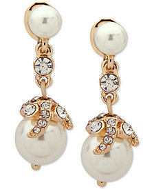 Anne Klein Gold-Tone Crystal & Imitation Pearl E-Z Comfort Clip-On Drop Earrings