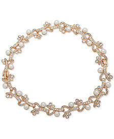 "Anne Klein Gold-Tone Crystal & Imitation Pearl 16"" Collar Necklace"